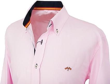 Pi2010 Camisa Bandera de España Hombre Rosa con Marino, Fabricado en España