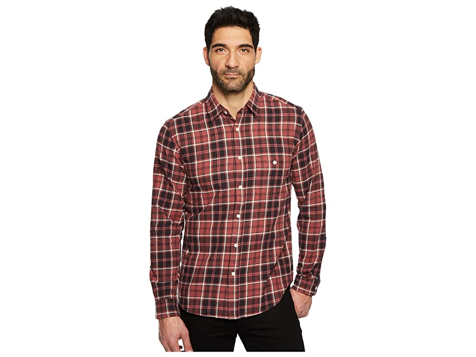 7 For All Mankind Long Sleeve Brushed Plaid Shirt (Port) Men