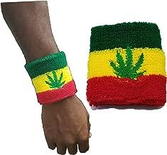 BUNFIREs Rasta Reggae Marijuana Pot Leaf Weed Smoke Wristband Sweatband Jamaica, Rastafarian Sweatbands Wristbands