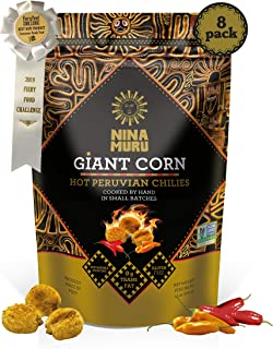 Giant Inca Corn with Hot Chilies (8-Pack) - Nina Muru 3.5oz - Certified Non-GMO, Gluten-Free, Vegan   Sustainably Sourced in Peru   Used Globally by Top Chefs!