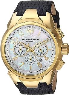 Technomarine Men's Sea Stainless Steel Quartz Watch with Leather Calfskin Strap, Black, 30 (Model: TM-715023)