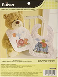 Bucilla Baby Stamped Cross Stitch Bib Kit, 9 by 14-Inch, 46361 Two by Two (Set of 2)