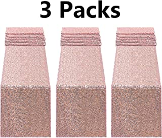 Fecedy 3pcs 12 x 108inch Glitter Rose Gold Sequin Table Runner For Birthday Wedding Engagement Bridal Shower Baby Shower Bachelorette Holiday Celebration Party Decorations