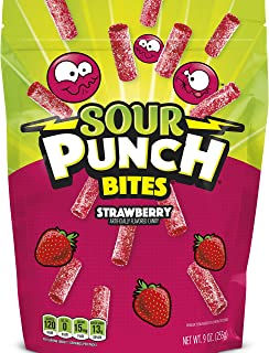 Sour Punch Bites, Sweet & Sour Strawberry Flavored Soft Chewy Candies, 9oz Bag (12 Pack)