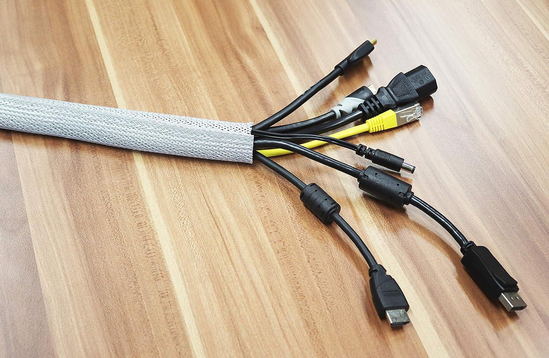 RICOO Z9135W-10 Organizador de Cables Canaleta para Cable Pasacables con Cierre Adhesivo Recogecables Ocultar Cables Longitud 10m Color Blanco