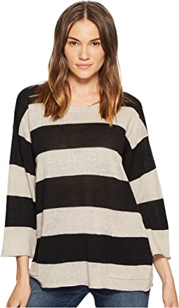 Eileen Fisher Organic Linen Knit Stripe A-line Top