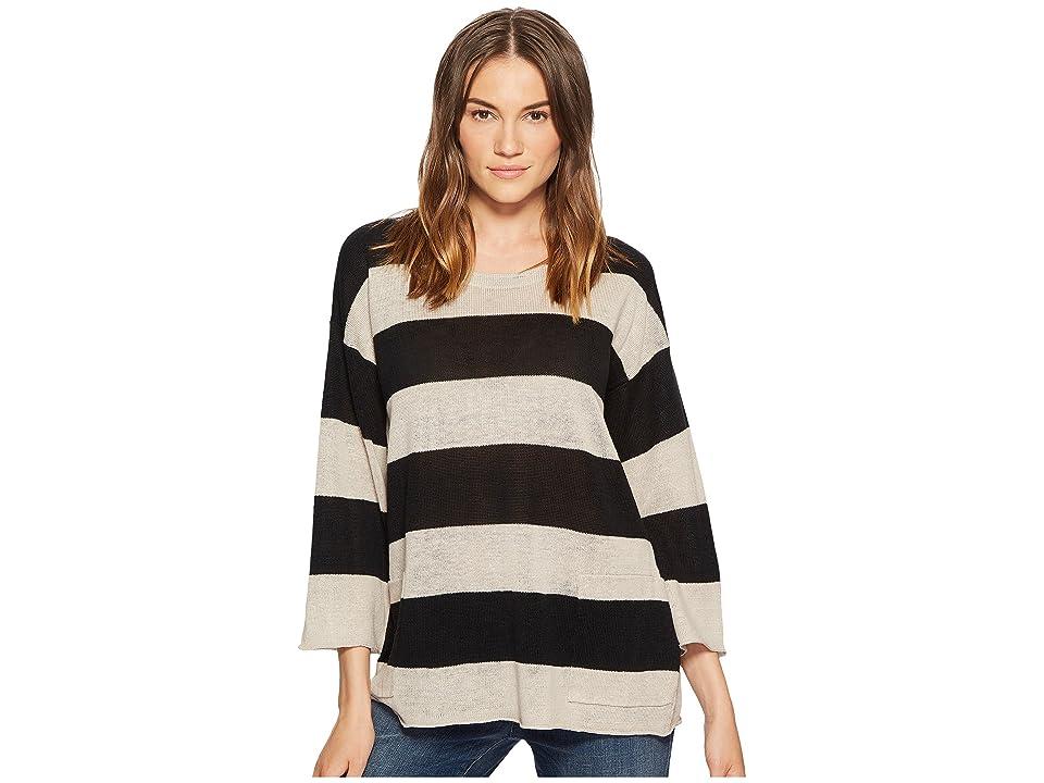 Eileen Fisher Organic Linen Knit Stripe A-line Top (Black/Natural) Women