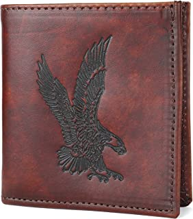 RFID Blocking Mens bifold Top Grain Leather Hipster Wallet,Made in USA