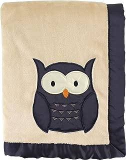 Hudson Baby Plush Blanket with Satin Applique & Binding, Navy Owl