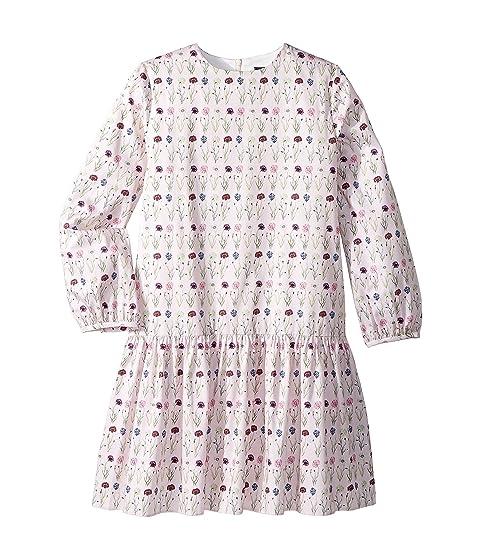 Oscar de la Renta Childrenswear Long Sleeve Printed Day Dress (Little Kids/Big Kids)