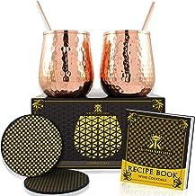 Krown Kitchen - Stemless koperen wijnglazen set van 2. Uitstekende geschenkset voor mannen en vrouwen. Moskou Mule Koper S...