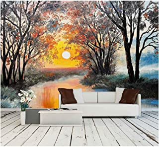wall26 - Oil Painting on Canvas - The River, Watercolor, Wallpaper, Tree - Removable Wall Mural   Self-Adhesive Large Wallpaper - 100x144 inches