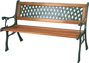 Panca da giardino, 3posti, con doghe in legno e gambe in ghisa