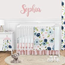Sweet Jojo Designs Navy Blue and Pink Watercolor Floral Baby Girl Nursery Crib Bedding Set - 4 Pieces - Blush, Green and W...