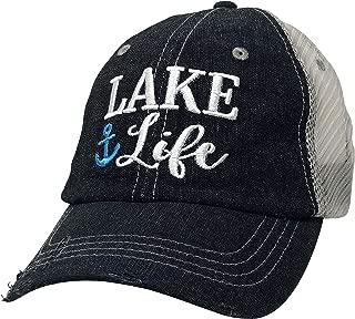 Xoxo, Coco Lake Life Embroidered Baseball Hat Mesh Trucker Style Hat Cap Lake Lover Boating Vacation Summer Hat Dark Grey