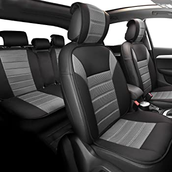 FH GROUP Universal Fit Complete Set Car Seat Cushion Pad - Cloth (Gray)
