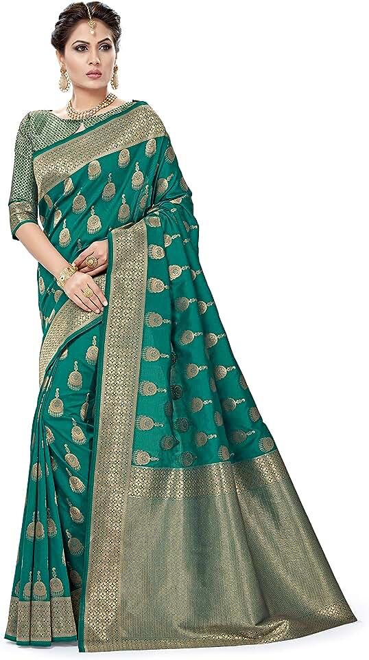 Indian SORU FASHION Women's Banarasi Silk Saree With Unstiched Blouse Piece Saree