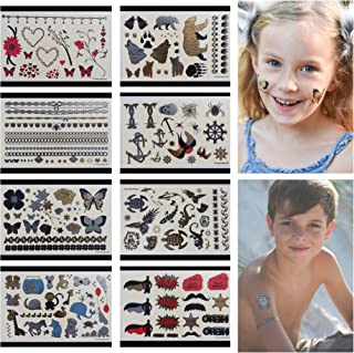 Twink Designs Temporary Tattoos for Kids | 166 Tattoos on 8 Sheets for Boys and Girls | for Party Favors and Supplies | Stocking Stuffers and Goodie Bags | Fake Metallic Temporary Tatoos for Children