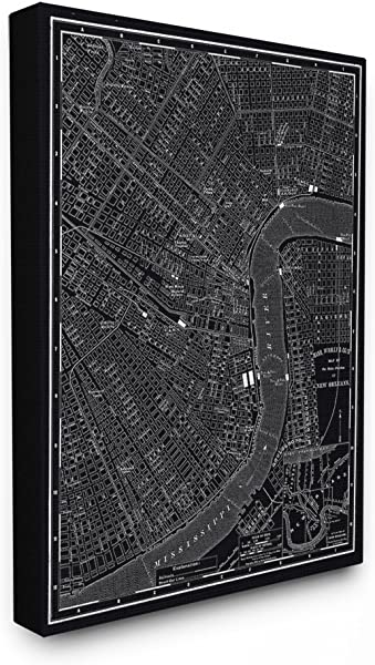 Stupell Home D Cor New Orleans 1985 Vintage Map Oversized Stretched Canvas Wall Art 24 X 1 5 X 30 Proudly Made In USA
