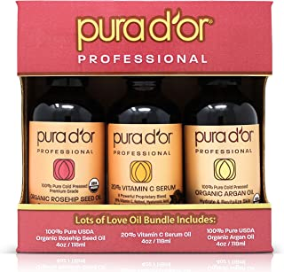 PURA 100% USDA Organic Argan Oil, 100% Organic Rosehip Seed Oil, and 20% Vitamin C Serum (4oz) 3-Piece Daily Facial Moisturizer and Anti-Aging Skin Care Gift Set For Face, Skin, Hair, and Nails