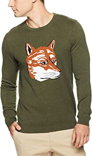French Connection Men's Fox Intarsia Crew Neck Knit, Green (
