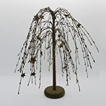 CVHOMEDECO. Mustard Burgundy Black Pip Berries Weeping Willow Tree with Rusty Stars Primitive Vintage Decoration Art, 18 Inch