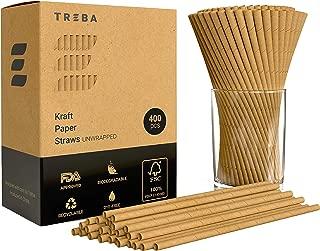 TREBA 400 Pajitas Biodegradables de Papel Kraft– Pajitas para Beber Sin Envueltas – Pajitas Desechables Sin Colorantes para Cócteles, Bebidas Frías y Calientes – Pajitas Ecologicas Compostables Papel