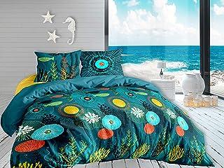 Calitex Abysse 3-Piece Bedding Set, Cotton, Blue, 240 x 220 cm