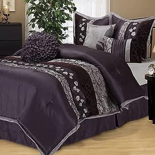 Nanshing Q-PUR Riley Collection Bedroom Comforter Complete 7 Piece Set, Queen, Purple