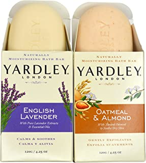 Yardley London Soap Bath Bar Bundle - 4 Bars: English Lavender & Oatmeal and Almond Naturally Moisturizing Bath Bar, 4.25 oz. (Pack of 4, Two of Each)