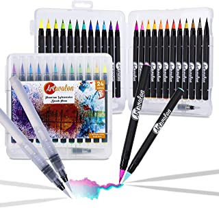 Watercolor Brush Pens - 24 Colors + 2 Refillable Pen - Flexible Tip + NonToxic • [Water Color Paint Markers Set for Artists/Adults/Kids, Real Art Coloring, Calligraphy Drawing, Paintbrush]
