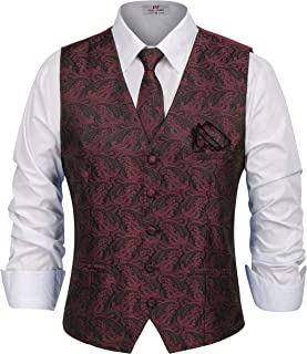 PAUL JONES Men's Paisley Tux Vest Tie Handkerchief 3-Piece Set for Suit Tuxedo