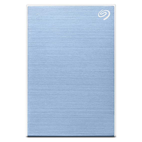 (Renewed) Seagate 2TB Backup Plus Slim Portable External Hard Drive with Free 2 Month Adobe CC Photography Plan - Light Blue (2019 Edition)