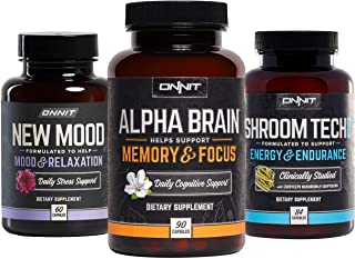 ONNIT Alpha Brain 90ct + New Mood 60ct + Shroom Tech Sport 84ct Nootropic Stack