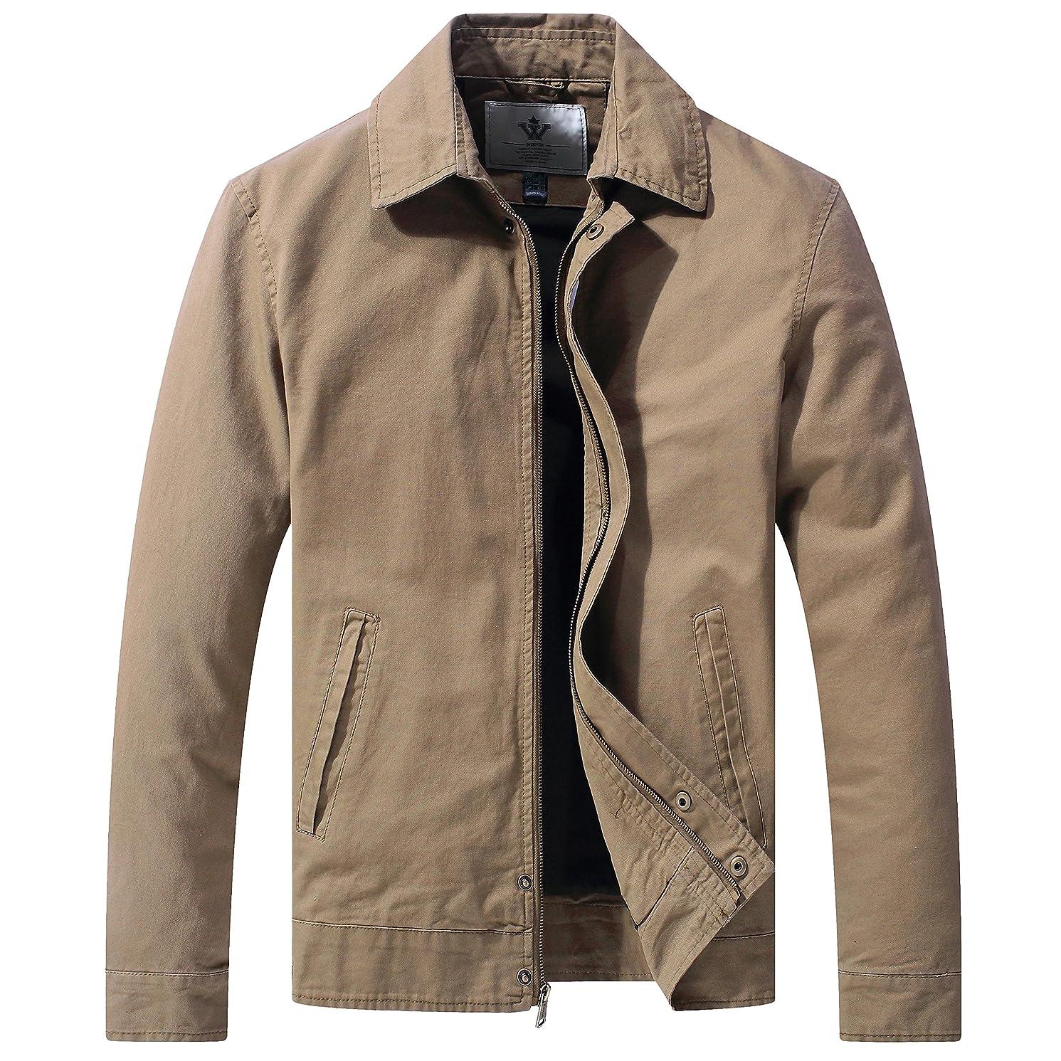 WenVen Men's Spring Lightweight Long Sleeve Full Zip Jacket with Pockets