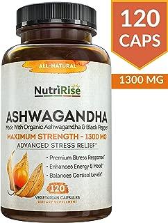 Ashwagandha 1300mg Made with Organic Ashwagandha Root Powder & Black Pepper Extract..