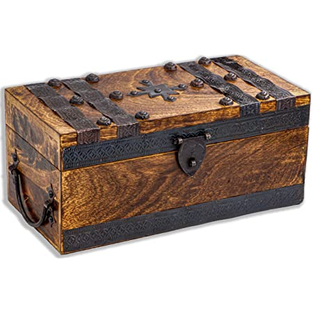 Coffre en Bois 28 x 19 x 15 cm infinimo Caribe Coffre au tr/ésor avec Cadenas et cl/é Id/éal comme bo/îte Cadeau pour Mariage et Anniversaire