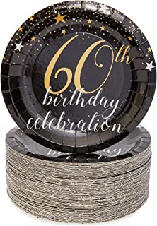 Sparkle and Bash 60th Birthday Paper Plates (80 Count), 7 Inches