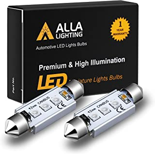 Alla Lighting CANBUS 211-2 578 LED Bulbs 10000K Blue Super Bright 41mm 42mm Festoon 3030 SMD 212-2 569 6413 Interior Map Dome Trunk Courtesy Tag Lights