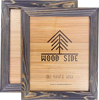 Rustic Wooden Picture Frames 8x10 - Old Dark Grey - Set of 2-100% Natural Eco Solid Wood and High Definition Real Glass for Wall Mounting Photo Frame