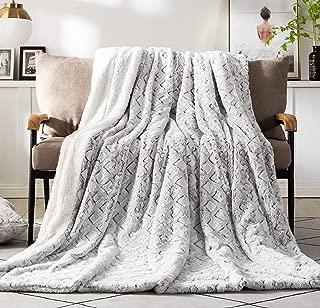 DaDa Bedding Luxury Throw Blanket - Dreamy Milky Way Cloud White - Purple Undertone Embossed Faux Fur Sherpa - Super Soft Warm Plush - 63