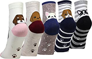 Cansok かわいい 犬柄 レディースソックス 靴下 カラフル ファッション 靴下セット ガールズ 5足セット カジュアルな レディース靴下 5足組