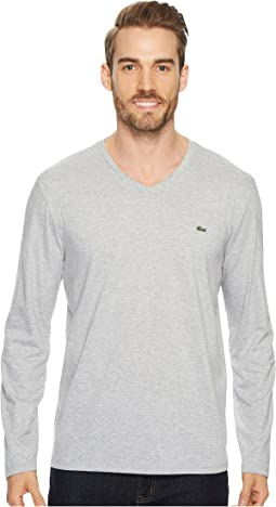Long Sleeve Pima Jersey V-Neck T-Shirt