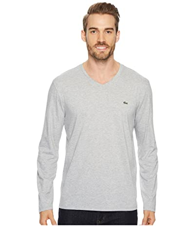 Lacoste Long Sleeve Pima Jersey V-Neck T-Shirt (Silver Chine) Men