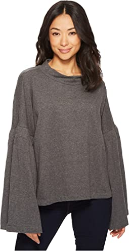 Bell Sleeve Mock Neck French Terry Top