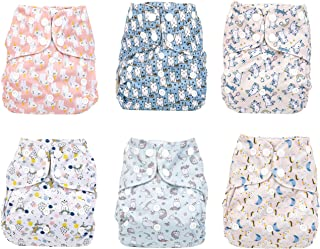 Simple Being Reusable Cloth Diapers- Double Gusset-6 Pack Pocket Adjustable Size-Waterproof Cover-6 Inserts-Wet Bag (Unicorn)
