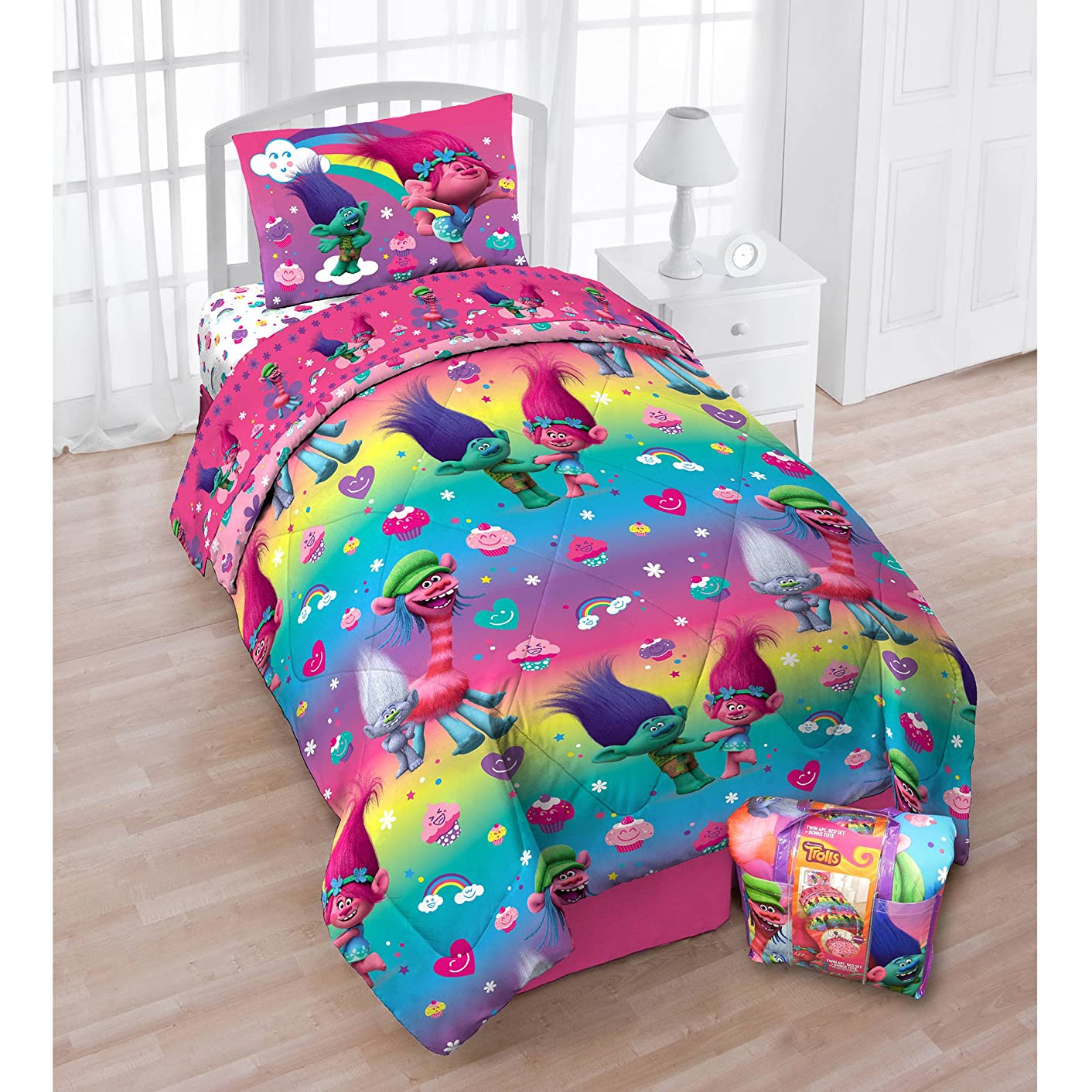 Trolls Cupcakes and Rainbows Comforter 4 piece Set Bed in a Bag with Bonus Tote