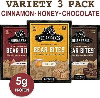 Kodiak Cakes   Bear Bites Graham Crackers Variety Pack: Honey, Chocolate & Cinnamon Snacks