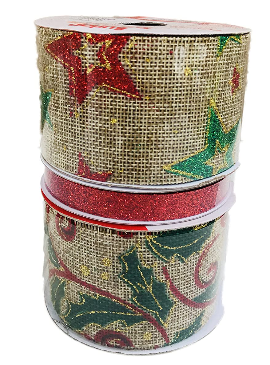 Glitter Stars on Burlap Holly on Burlap and Red Glitter Bundle of Three Christmas Themed Ribbons