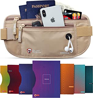 Money Belt for Travel for Men & Women - with RFID Blocking Sleeves - Multiple Compartments & Hidden Pocket for Safe Travel and Daily Use. (Beige)